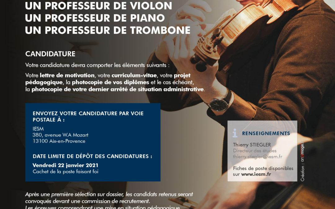 Décembre 2020 – L'IESM complète son équipe pédagogique dans les disciplines piano, violon et trombone