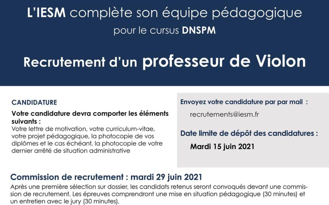 L'IESM recrute un second professeur de violon